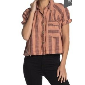 We The Free button front peach brown plaid size XS